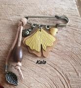 bijoux broche ginkgo cuir ambre miel : Broche épingle, Ginkgo jaune, Ambre