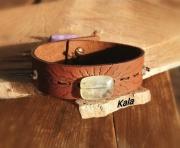 bijoux autres bracelet cuir rayon phrenite : Bracelet Homme, cuir rayons Phrénite/Cristal de roche