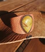 bijoux autres mystique cuir feuill rigide serpentine : Bracelet rigide Mystique Feuilles cuir Serpentine