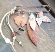 bijoux broche feuilles cuir pierres : Broche épingle feuilles cuir et Pierres fines