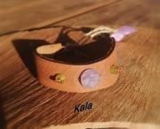 bijoux autres bracelet cuir plume amethyste serpentine : Bracelet cuir plume, Améthyste/Serpentine