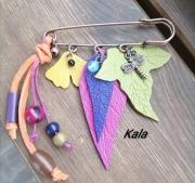bijoux broche feuilles cuir pierres : Broche épingle feuilles colorées cuir et Pierres fines