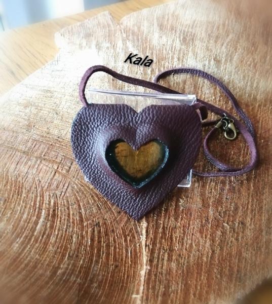 BIJOUX Mystique cuir Coeur Ambre Chiapas  - Mystique cuir Cœur d'Ambre Chiapas