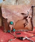 bijoux petite sacpochette cuir feuilles de lierre : Petit sac/pochette tout cuir Feuilles de Lierre et Malachite