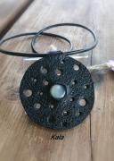 bijoux mystique cuir rond pierre de lune adula : Mystique cuir rond Pierre de lune