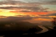 photo paysages rhone fleuve drome ardeche aube : Ciel rougeoyant de la vallée du Rhône