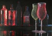 tableau bar bouteilles verres alcool : Bar pour noctambules