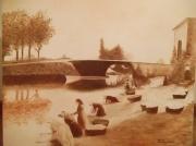 tableau scene de genre lavandieres canal du midi bram washerwomen : Canal du midi, lavandières de Bram