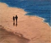 tableau marine promeneurs plage : Promeneurs sur une plage