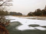photo paysages ardeche doux riviere tournon sur rhone hivers : Embouchure du Doux pris dans la glace