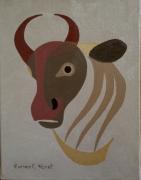 tableau animaux taureau portrait art animalier : Portrait stylisé d'un taureau