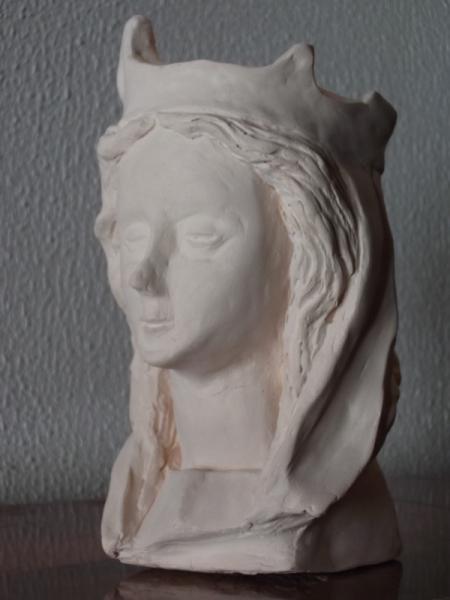 SCULPTURE visage gothique Gothic figurine Personnages Modelage Terre cuite  - Figurine gothique