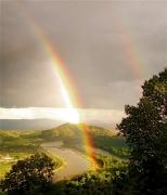 photo arcs en ciel rhone fleuve ardeche drome : Jeux de lumières après un orage (2)