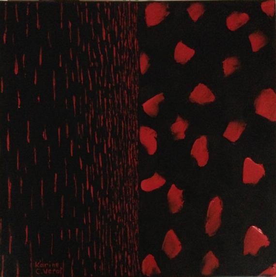 TABLEAU PEINTURE rouge noir Abstrait Peinture a l'huile  - Oppositions formelles