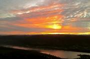 photo paysages rhone fleuve drome : Le Rhône rougi par l'aube