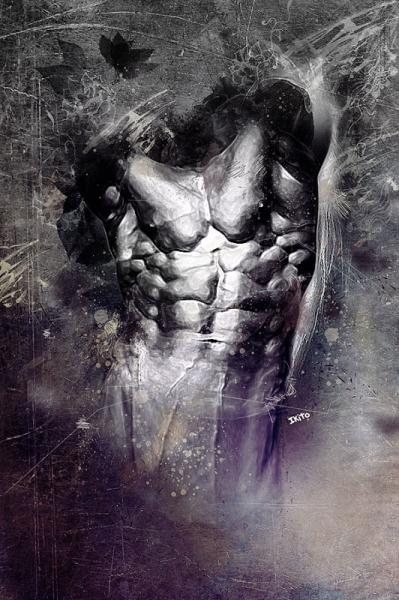 TABLEAU PEINTURE homme gris sombre Personnages  - Déchirure