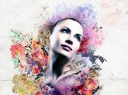 art numerique personnages femme women violet : Woem paint