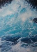 tableau marine ecume vague bleus : Écume