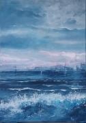 tableau marine mer agitee ecume brume horizon : Au loin