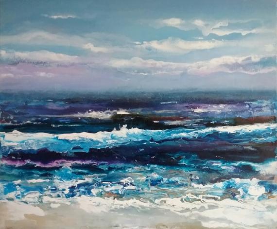 TABLEAU PEINTURE tempête pouring dripping mer bleue Marine Acrylique  - Bleu turquoise