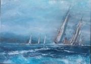 tableau marine regates anciennes mer agitee vagues : wild wings