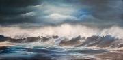 tableau marine brumeux nuit mer agitee ecume : Nord est 5