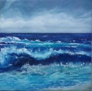 tableau vagues houle peinture couteau : vent d'ouest