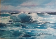 tableau marine mer agitee vagues bleu : mer agitée
