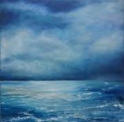 tableau marine reflets mer belle ,a peu agit nuit : bleut nuit