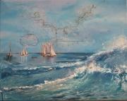 tableau carte marine vagues publicite 1930 : voyages