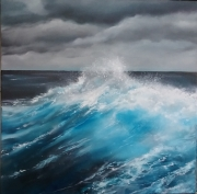 tableau paysages mer agitee vagues lumiere : vague bleue