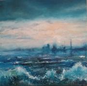tableau brume reve vagues : rêve de mer