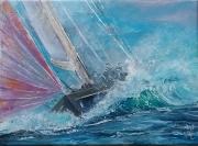tableau marine voilier tribord regates mer formee : Tribord  amure