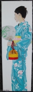 tableau personnages acrylique geisha kimono asie : Mlle Natsu