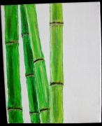 tableau fleurs acrylique bambou asie zen : Instantané zen