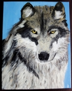 tableau animaux loup acrylique animal : Wolf story, into your eyes