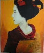 tableau personnages asie geisha japon kimono : Geisha#02...appréhension