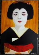 tableau personnages geisha asie japon kimono : Geisha#06...concentration