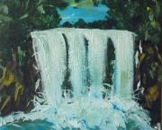 tableau paysages cascade foret eau charente maritime : cascade en forêt