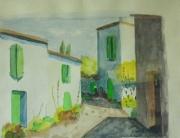 tableau paysages maison ruelle aquarelle charente maritime : ruelle du cap-ferret