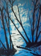 tableau scene de genre arbre bleu sombre charente maritime : tourmente