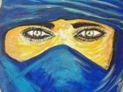 tableau personnages femme desert bleu : femme du desert