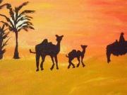 tableau paysages chameau desert acrylique charente maritime : chameau du desert