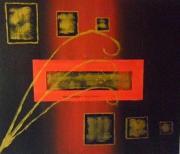 tableau abstrait abstrait rouge or charente maritime : abstrait