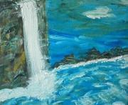 tableau paysages mer falaise bleu charente maritime : mer tourmentée