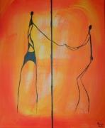 tableau personnages silhouette afrique acrylique : le respect