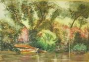 tableau paysages arbre eau aquarelle charente maritime : au fil de l'eau