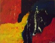 tableau abstrait abstrait rouge jaune charente maritime : abstrait