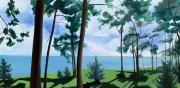 tableau marine pins maritimes arcachon bord de l eau : Arcachon - vue d'en façe