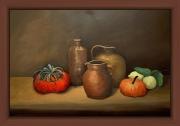 tableau nature morte cruches fruits exotiques nuance de brun : NM3 Coloquintes citrons et cruches